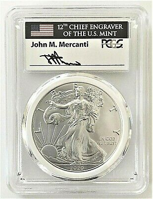 2020-P Emergency Issue Silver Eagle-Pcgs Ms70-Fdoi-Mint Engraver-Mercanti-Flag!!