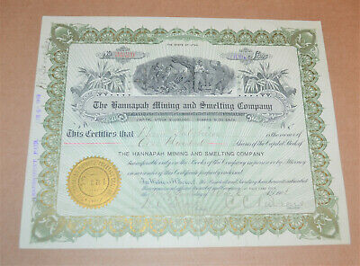 The Hannapah Mining and Smelting Company 1908 antique stock certificate