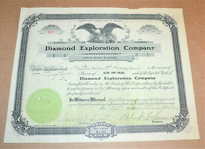 Diamond Exploration Company 1906 antique stock certificate