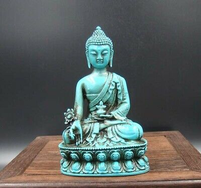Collectible Handmade Carving Statue Turquoise Buddha Art Deco