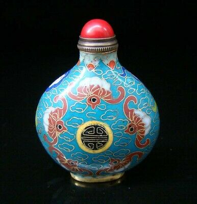 Collectibles 100% Handmade Painting Brass Cloisonne Enamel Snuff Bottles 094