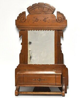 Antique Victorian Eastlake Style Dressing Mirror With Towel Rack W/ Box And Lid