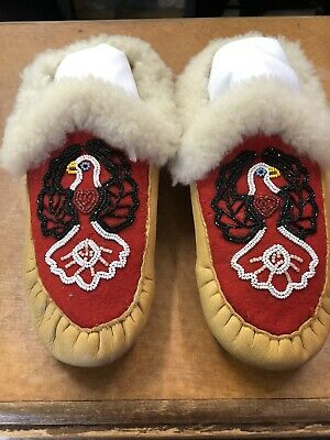Native American Indian Beaded Moccasins with Beaded Eagle