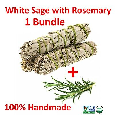White Sage with Rosemary Smudge Stick (1 Sage Bundle,House Cleansing)Made in USA