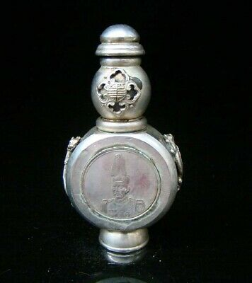 Collectible Handmade Carving Statue Copper Silver Snuff Bottles People Figures