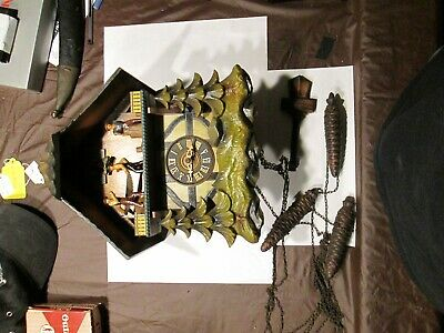 Animated German Black Forest Musical Wood Chopper Saw Mill Chalet Cuckoo Clock!