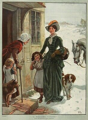 Family Visiting Grandmother, Brittany Spaniel, Large 1880s Antique Color Print
