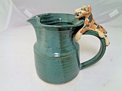 Vintage Small Hand Thrown Pinched Pottery Cream Milk Pitcher with Cat on Handle