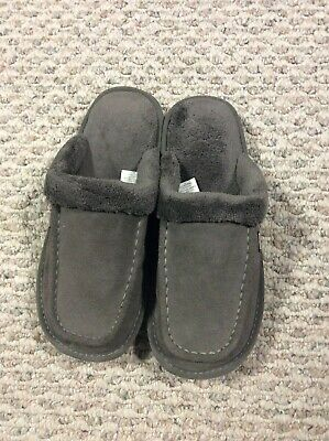 NUKNUUK Grey Leather Fleece Lined Ed Slippers Mule LIKE NEW Size 8 Mens Costco
