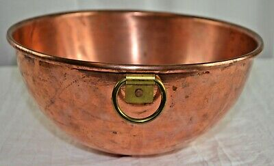 Vintage Heavy Copper Mixing Bowl With Brass Ring 10.5 Inch