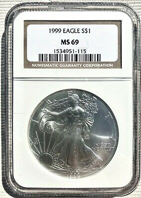 1999-P American Silver Eagle 1 oz.Coin NGC MS-69 (Brown Label)