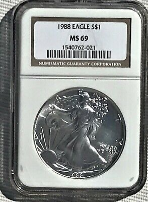 1988-S American Silver Eagle 1 oz.Coin NGC MS-69 (Brown Label)