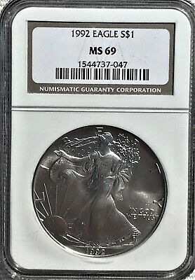 1992-S American Silver Eagle 1 oz.Coin NGC MS-69 (Brown Label)