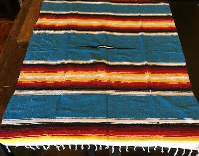 Mexican Blanket 3+ lbs Heavy Weight Diamond Design Blue Stripe Yoga