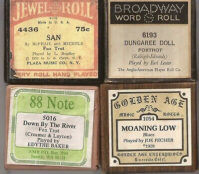 Pianola Rolls x 4 modern rolls Blues and Foxtrots various labels