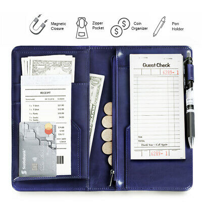 Restaurant Server Book Organizer for Waitress/Waiter Zipper Pocket Dark Blue