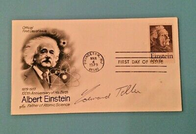 RARE! Edward Teller Father of Hydrogen Bomb signed Einstein First Day Cover FDC