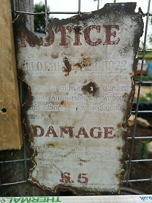 Antique / Vintage Allotment Notice Sign