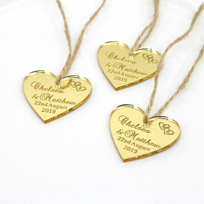 Personalized Love Heart Tags Labels Baptism Bridal Shower Wedding Decor Favours