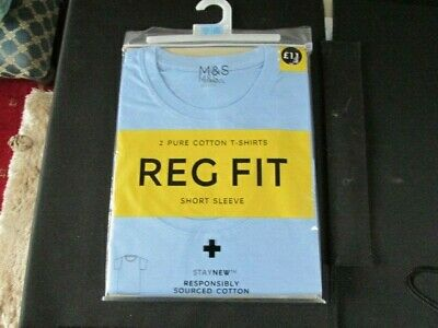 "Pack of 2 blue cotton school T-shirts 35"" chest Marks & Spencer BNWT"