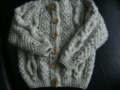 "New Hand Knitted Baby's Beige Fleck  Aran Cardigan For Boy/Girl Size 20/22""Chest"
