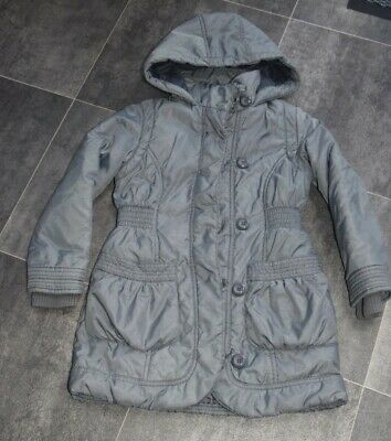 Fab Girls Grey M&S Coat Aged 5-6 Years - In Very Good Condition