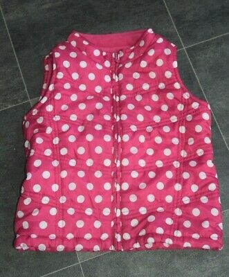 Fab Girls Pink Spotty Gilet Aged 5-6 Years - In Very Good Condition