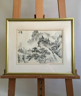 Chinese Original Painting Ink on Silk Mountains and Pines in Autumn Signed