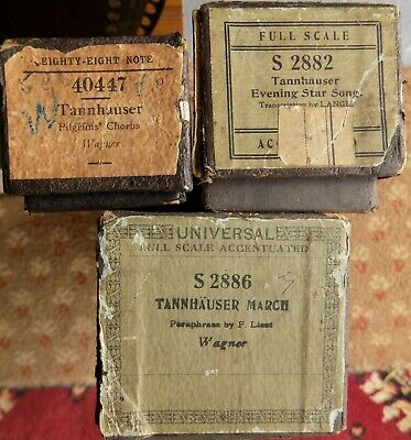 3 x Pianola Piano Rolls 88 note Composed by Richard Wagner