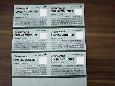 6X CINEWORLD Cinema Tickets Standard Adult 2D Expire 30/04/2021 upgradable to 3D