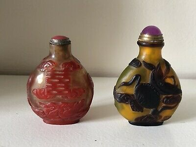 Two Chinese antique PeKing Glass snuff bottle , 19th Century