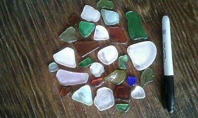 Beach Glass Natural Lake Erie 154 grams - 28 Pieces - All Colours Craft Collect