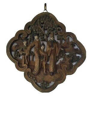 Antique Carved Wood Chinese Plaque