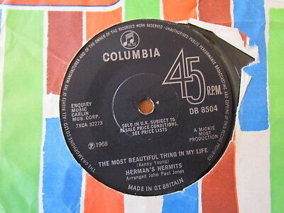 """Hermans Hermits Rare 7"""" The Most Beautiful Thing In My Life 60'S"""