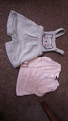 Girls Dungaree And T-shirt Set 3-4years George