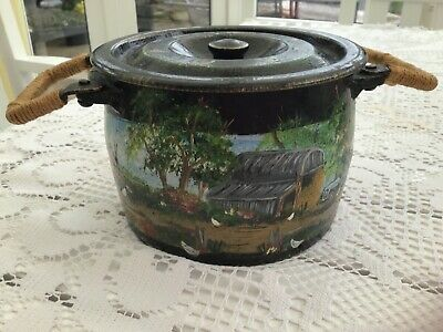 Antique Cast Iron  Small Lidded Pot Hand Painted With Farm Scenery
