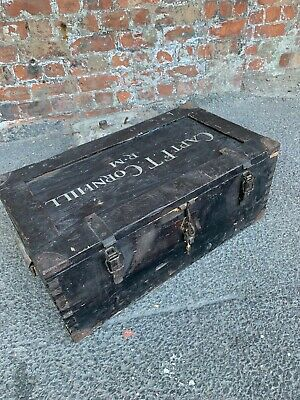 Full Of Character Old Antique Vintage Wooden Army Trunk / Chest - Storage Box