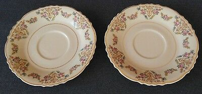 Vintage Old Ivory Syracuse China O.P.C.O. Saucers Plates Green Stamp Set of 2