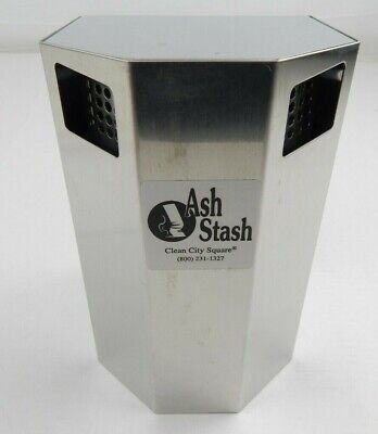 "Clean City Square Stainless Steel Wall Ash/Stash Cigarette receptacle 9""x 5 1/4"""
