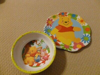 Winnie the Pooh Toddler Dinnerware Plate and Bowl Feeding Set VGC
