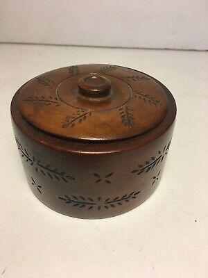 Antique/Vintage Wood Primitive Carved Turned Wood Treen Round Small Box with Lid