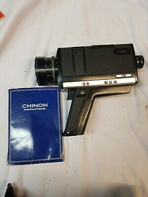 Vintage Chinon Super 8 672 Autozoom Cine Camera + Case With Instruction Book