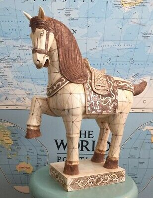 """Tang Dynasty Imperial War Horse Statue, Hand Carved, Detailed, BIG - 16"""" High"""