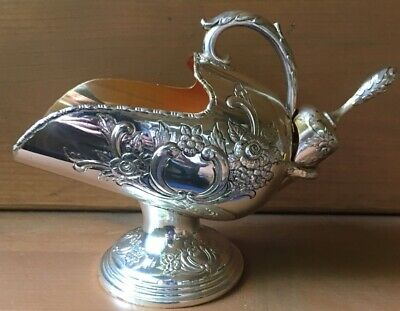 Raimond Silverplate Victorian Style Embossed Ornate Sugar Scuttle With Scoop