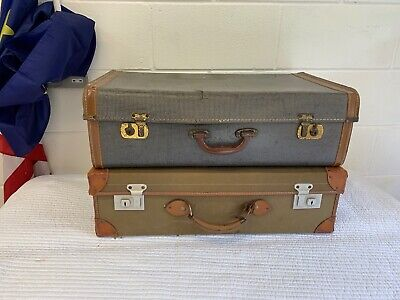 Two Vintage Suitcases Old Luggage Props Shop Display Wedding Car Free Delivery