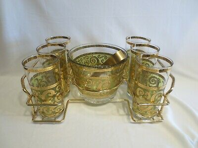 Culver Toledo Green & Gold 6 Tumblers, Ice Bucket, Tongs & Caddy