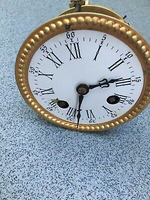 Antique French Clock Movement Dial Spares Repairs Brass (G)