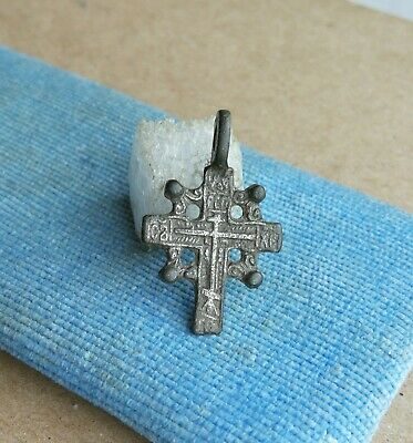 "ANTIQUE SILVERED BRONZE ORTHODOX ""OLD BELIEVERS"" ORNATE ""SUN"" CROSS 15-17th CENT"