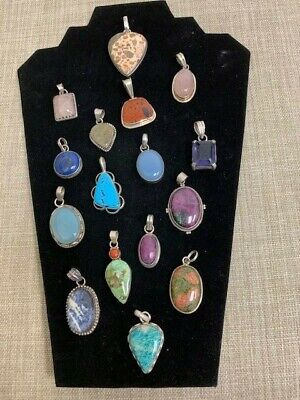 Sterling Silver Pendants with various gemstone insets