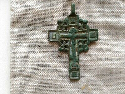 Antique Orthodox Cross of the 18-19th Century Old Believers ornate bronze cross